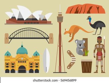 Australia flat illustration, vector, sydney, australian, landmark, symbol