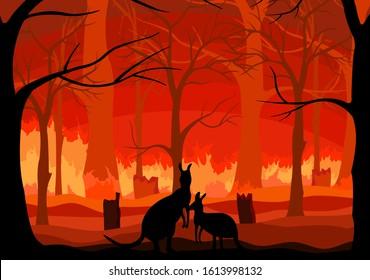 Australien Waldbrand, Bete für Australien mit australischem Kangaroo und Waldbrandhintergrund, Save australia Konzept, Zeichensymbol Hintergrund, Vektorillustration Illustration.