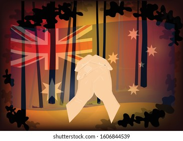 Australia forest fire, Pray for australia with Parying hands on Australian national flag and forest fire background, Save australia concept, sign symbol background, vector illustration.