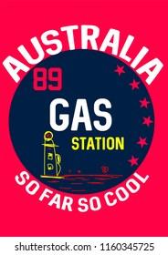 australia gas station,t-shirt design