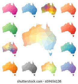 Australia geometric polygonal, mosaic style maps collection. Bright abstract tessellation, low poly style, modern design. Australia polygonal maps for your infographics or presentation.