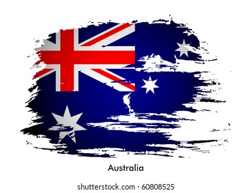 Australia grunge flag with wrinkles and seams design, vector illustration.