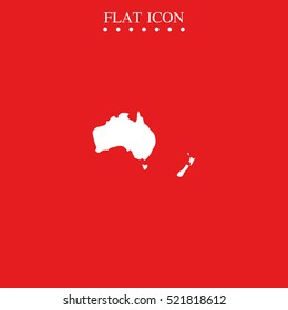 Australia high detailed map. New Zealand vector icon.