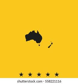 Australia high detailed map. New Zealand icon.
