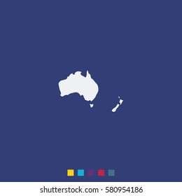 Australia high detailed vector map isolated on blue background. New Zealand simple flat icon.