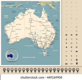 Australia - Highly detailed editable road map with separated layers.