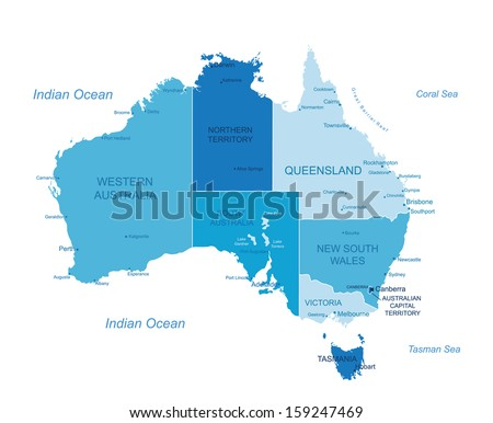 Australia Map Labeled.Australia Highly Detailed Map Elements Separated Stock Vector
