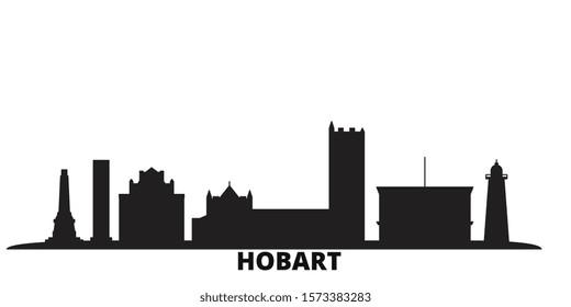 Australia, Hobart city skyline isolated vector illustration. Australia, Hobart travel black cityscape