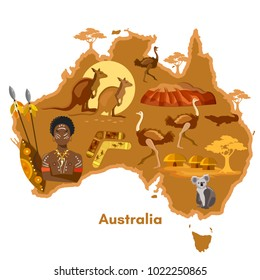 Australia infographics. sights, culture, australian traditions, animals, map and people. Australia art template elements vector