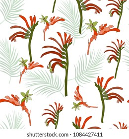 Australia kangaroo paw native flowers and tropical leaf seamless pattern