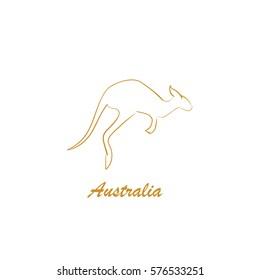 Australia lettering. Kangaroo jumps isolated. Hand drawn shape