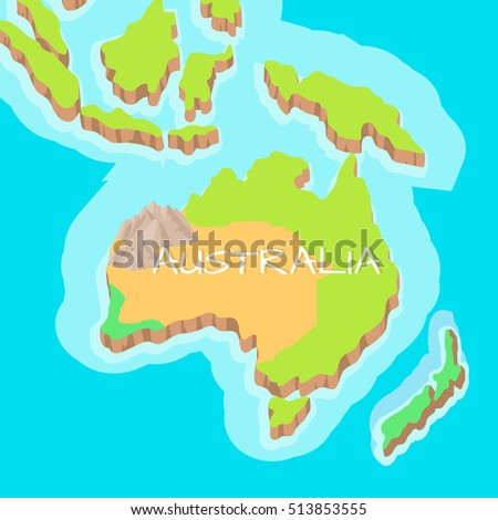 Map Of Australia Islands.Australia Mainland Cartoon Relief Map Mountains Stock Vector