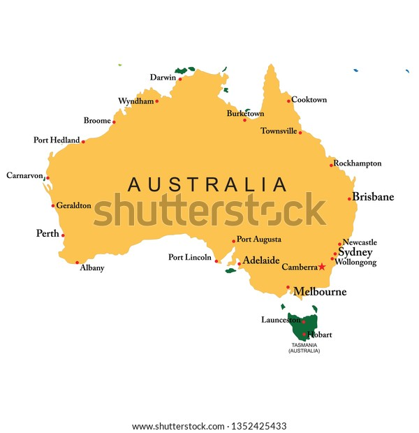 Australia Map With Cities.Australia Map All Cities Stock Vector Royalty Free 1352425433