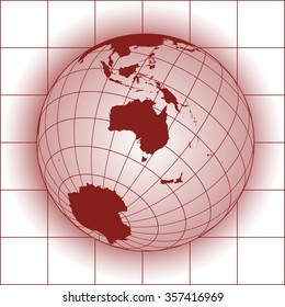 Australia map. Asia, Antarctica, North pole. Earth globe. World map. Elements of this image furnished by NASA