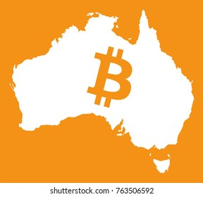 Australia map with bitcoin symbol illustration