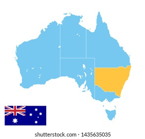 australia map in blue color, new south wales in orange color, vector illustration