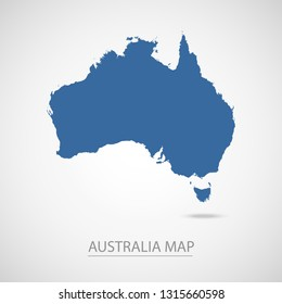 Australia map. Blue Australia map and Country name . Vector map on gray background. Map of Oceania . Eps10.