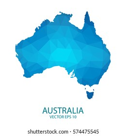 Australia map - blue geometric rumpled triangular low poly style gradient graphic background , polygonal design for your. Vector illustration eps 10.