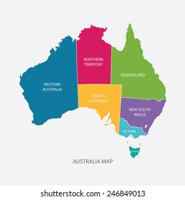 australia map color with regions flat design illustration vector
