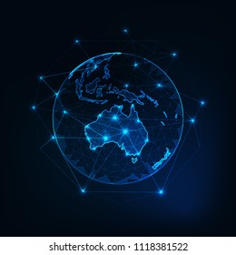 Australia map continent outline on planet Earth view from space abstract background. Globalization, connection concept. Low poly wireframe, lines and dots glowing design. Vector illustration.