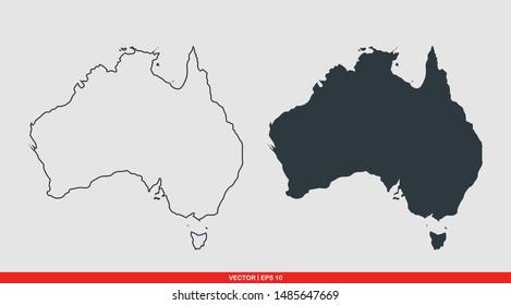 Australia map flat icon, vector illustration on gray background