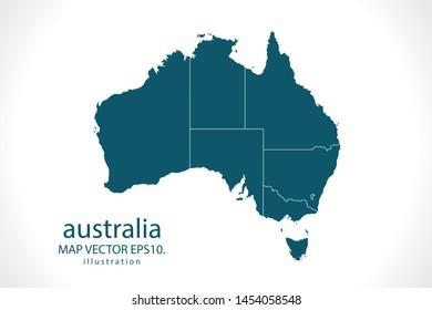 australia map High Detailed on white background. Abstract design vector illustration eps 10