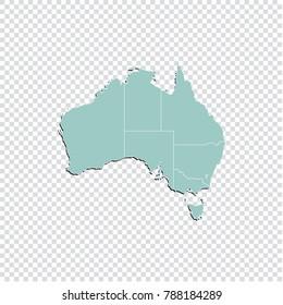 Australia map - High detailed pastel color map of Australia. Australia map isolated on transparent background. Vector illustration eps 10.
