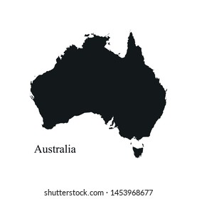 Australia map icon. vector isolated black silhouette high detailed image of southern continent