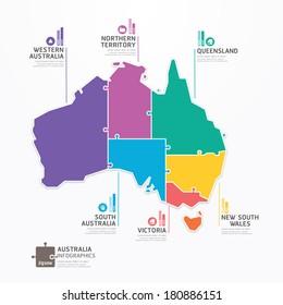 Australia Map Infographic Template jigsaw concept banner. vector illustration