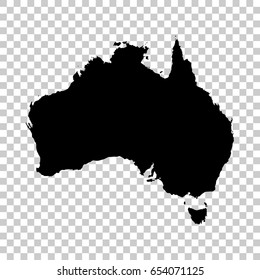 Australia map isolated on transparent background. Black map for your design. Vector illustration, easy to edit.