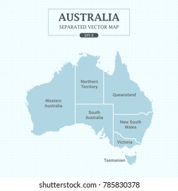 Australia Map Mono Color High Detail Separated all states Vector Illustration