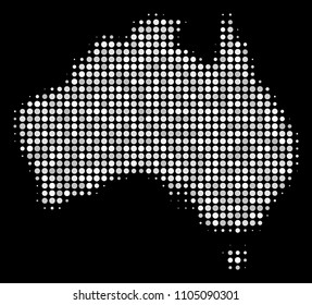 Australia map mosaic of dots on a black background. Vector dots are composed into halftone Australia map. Abstract territory plan in bright color tints.
