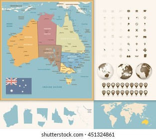 australia map with navigation icon set vintage colors all elements are separated in editable