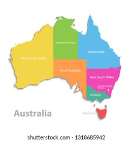 Australia map, new political detailed map, separate individual states, with state names, isolated on white background 3D vector