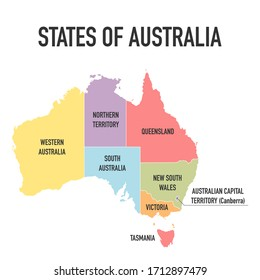 Australia map, new political detailed map, separate individual states, with state names, isolated on white background