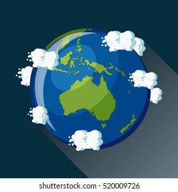 Australia map on planet Earth, view from space. Australia globe icon. Planet Earth map with blue ocean, green continents and clouds around. Science for kids. Cartoon style  flat vector illustration.