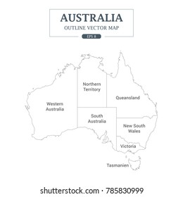 Australia Map Outline High Detail Separated all states Vector Illustration
