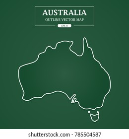 Australia map outline on green background Vector Illustration