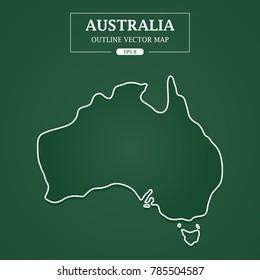 Australia map outline on green background Vector Illustration