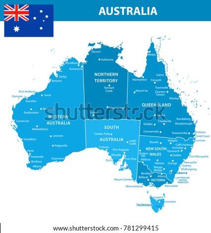 Australia Map Regions.Australia Map Regions Cities Blue Shades Stock Vector Royalty Free