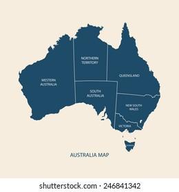 AUSTRALIA MAP WITH REGIONS illustration vector