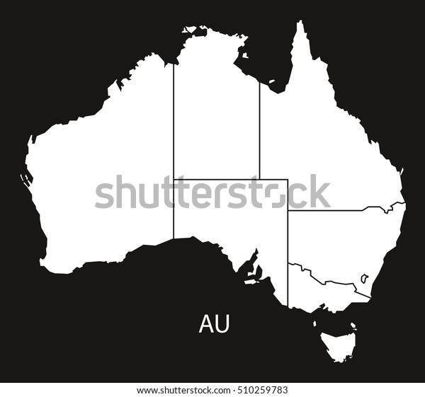 Australia Map Vector With States.Australia Map States Black White Stock Vector Royalty Free 510259783
