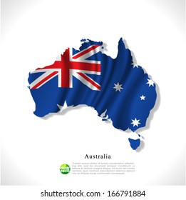 Australia map with waving flag isolated against white background, vector illustration