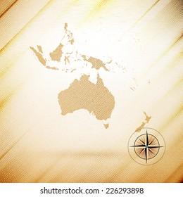 Australia map, wooden design background, vector illustration.