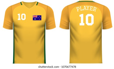 d5aef43f853 Australia national soccer team shirt in generic country colors for fan  apparel.