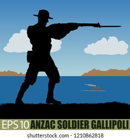 Australia or New Zealand ANZAC soldier of WW1 Gallipoli campaign, 1915. Original silhouette illustration. (Soldier layer separate from ground in vector)