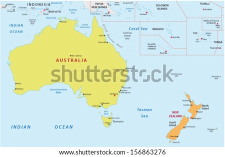 Australia New Zealand Map Stock Vector Royalty Free 156863276