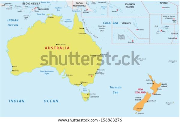 Map Of Australia New Zealand.Australia New Zealand Map Stock Vector Royalty Free 156863276