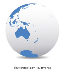 Australia, New Zealand, South Pole and the Pacific Ocean - Vector Map Icon of the World Globe
