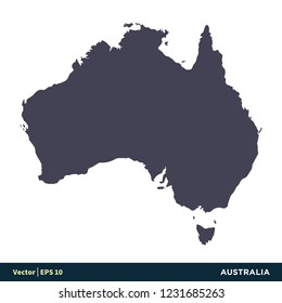 Australia - Australia & Oceania Countries Map Icon Vector Logo Template